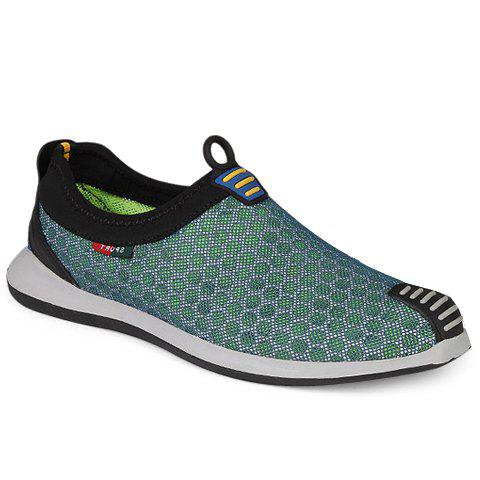 Stylish Mesh and Colour Matching Design Men's Casual Shoes - GREEN 42