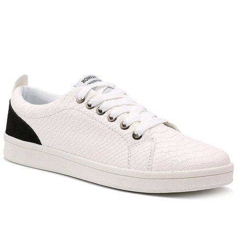 Fashionable Splicing and Embossing Design Men's Casual Shoes - WHITE/BLACK 41