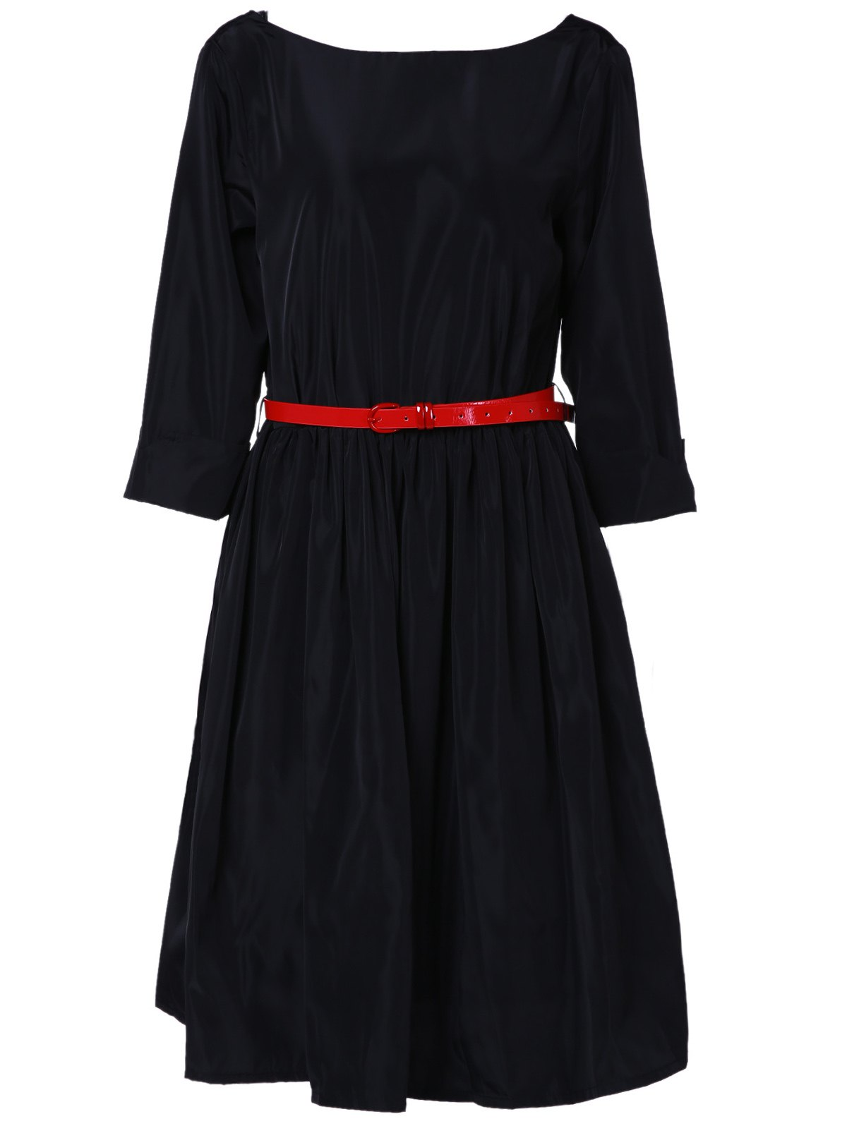 Noble Solid Color Boat Neck 3/4 Sleeve Flare Dress For Women - BLACK S