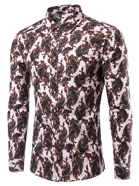 Casual Plus Size Printing Turn Down Collar Men's Shirt - 2XL COLORMIX