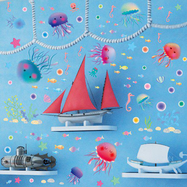 High Quality Cartoon Jellyfish Pattern Removeable Wall Stickers - COLORMIX