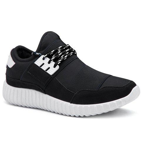 Stylish Lace-Up and Elastic Band Design Men's Casual Shoes - BLACK 40