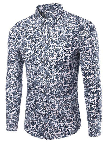 Casual Plus Size Flowers Printing Men's Turn Down Collar Shirt - ICE BLUE XL
