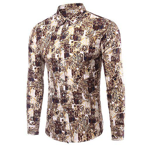 Casual Plus Size Plant Printed Men's Turn Down Collar Shirt - COLORMIX L