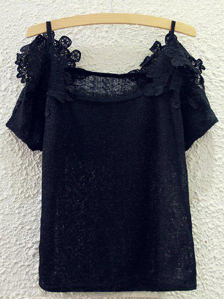 Sweet Spaghetti Strap Lace Spliced Cut Out Blouse For Women - BLACK ONE SIZE(FIT SIZE XS TO M)