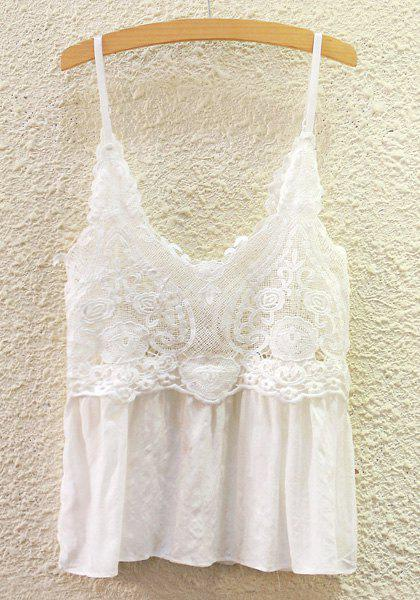 Chic Solid Color Lace Spliced Cami Tank Top For Woemn