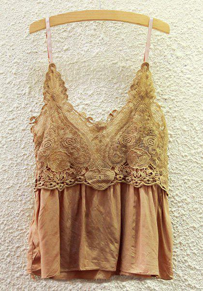 Chic Solid Color Lace Spliced Cami Tank Top For Woemn - KHAKI ONE SIZE(FIT SIZE XS TO M)
