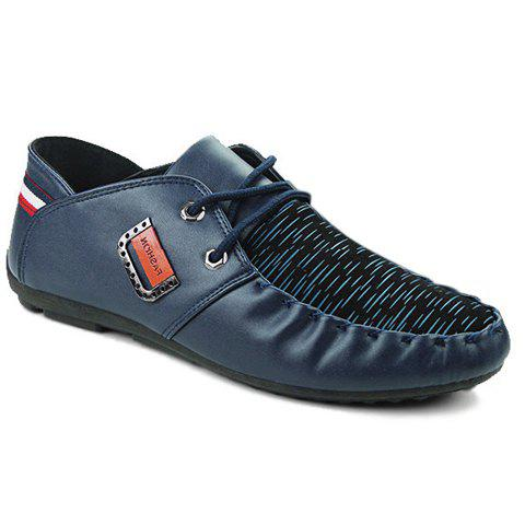 Trendy Metal and Splicing Design Men's Casual Shoes - BLUE 40