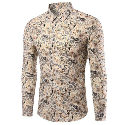 Men's Casual Plus Size Plant Printed Turn Down Collar Shirt - COLORMIX 5XL