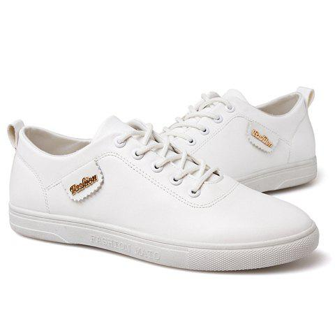 Fashionable Solid Colour and Metal Design Men's Casual Shoes - WHITE 39
