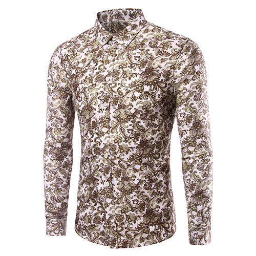 Men's Casual Plus Size Plant Printed Long Sleeves Shirt
