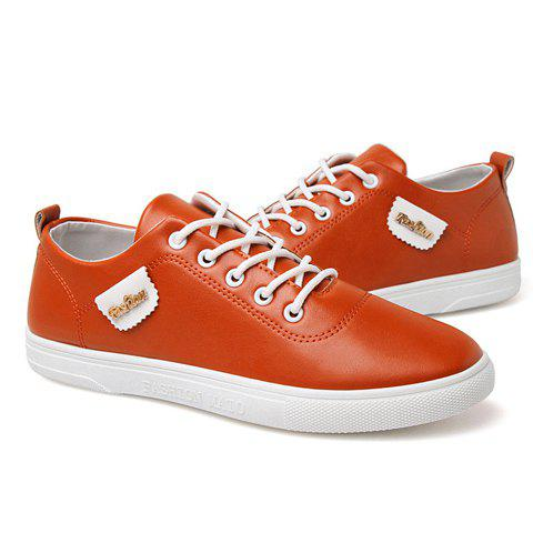 Stylish Metallic and PU Leather Design Men's Casual Shoes - ORANGE 39
