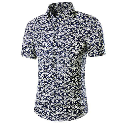 Men's Casual Plus Size Printed Short Sleeves Shirt