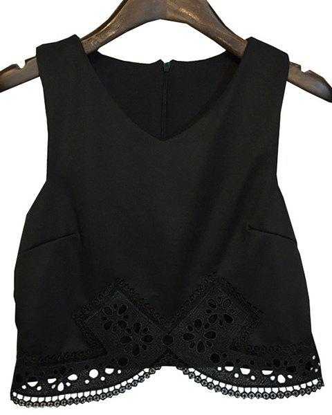 Chic Sleeveless Solid Color Lace Spliced Crop Top For Women - BLACK ONE SIZE(FIT SIZE XS TO M)