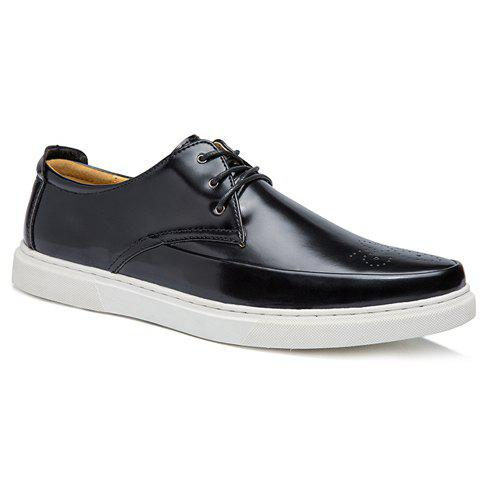 Trendy PU Leather and Engraving Design Men's Casual Shoes - BLACK 42