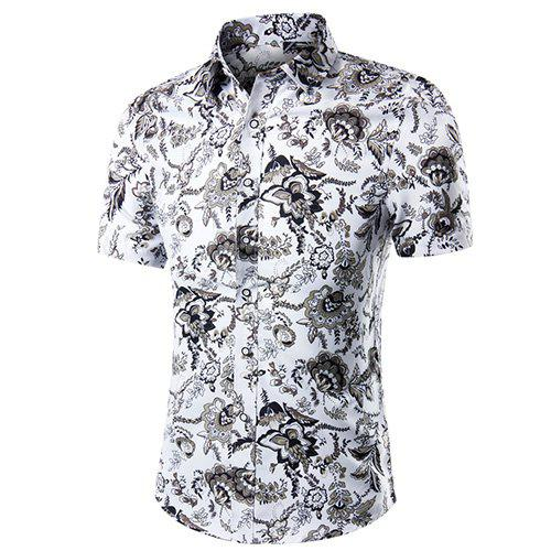 Men's Casual Printed Plus Size Short Sleeves Shirt - COLORMIX XL