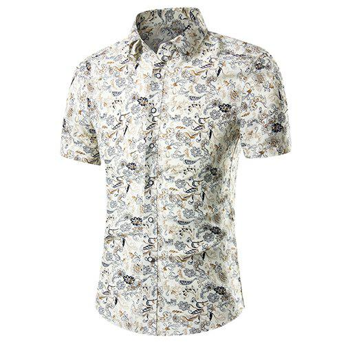 Men's Casual Plant Printed Plus Size Short Sleeves Shirt