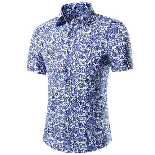 Casual Plant Printed Plus Size Short Sleeves Men's Shirt - BLUE XL