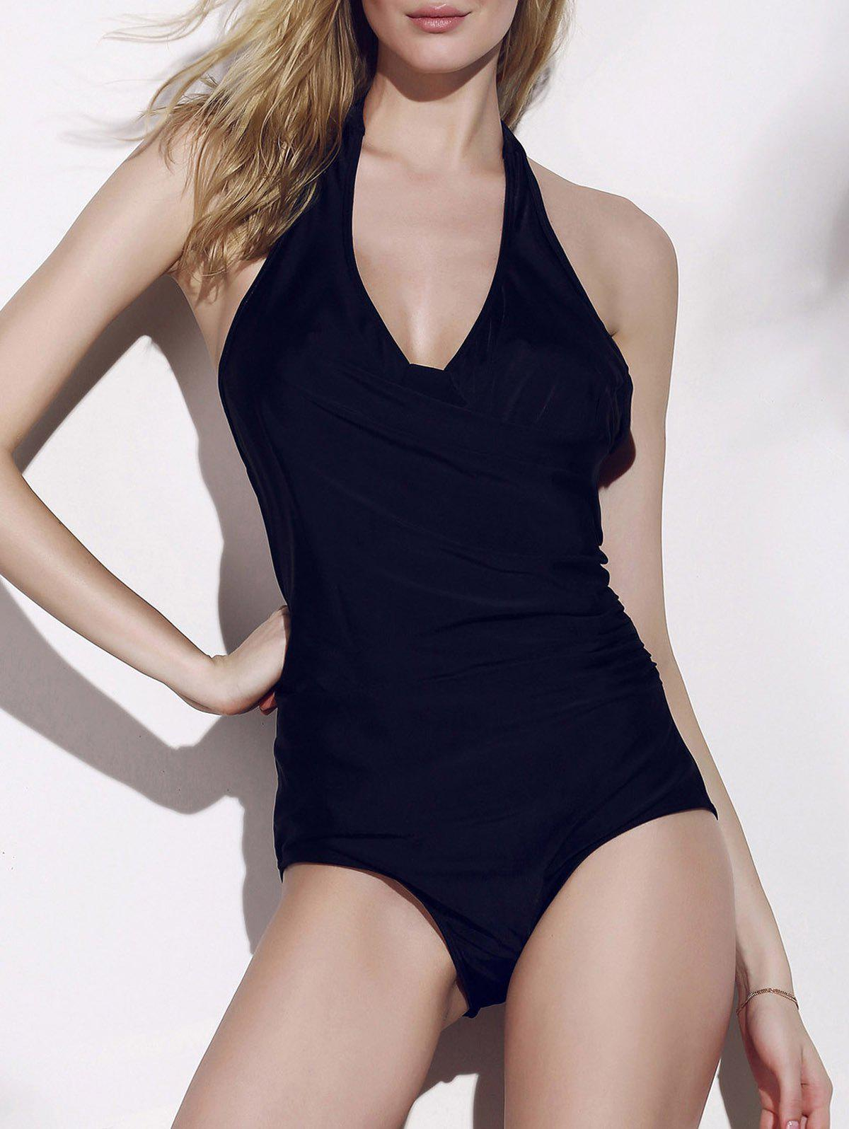 Sexy Halter Backless Solid Color One-Piece Women's Swimwear - BLACK XL