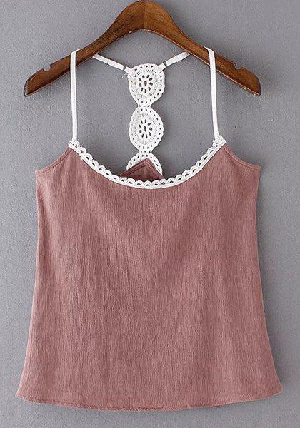 Alluring Spliced Spaghetti Strap Women's Tank Top - DEEP PINK S