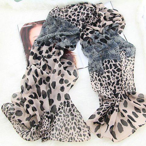 Stylish Fashionable Leopard Pattern Decorated Scarf For Women - GRAY