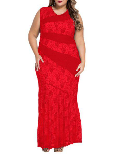 Elegant Sleeveless V Neck Lace Openwork Womens DressWomen<br><br><br>Size: 2XL<br>Color: RED