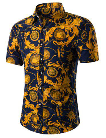 Casual Men's Short Sleeves Plant Printed Plus Size Turn Down Collar Shirt