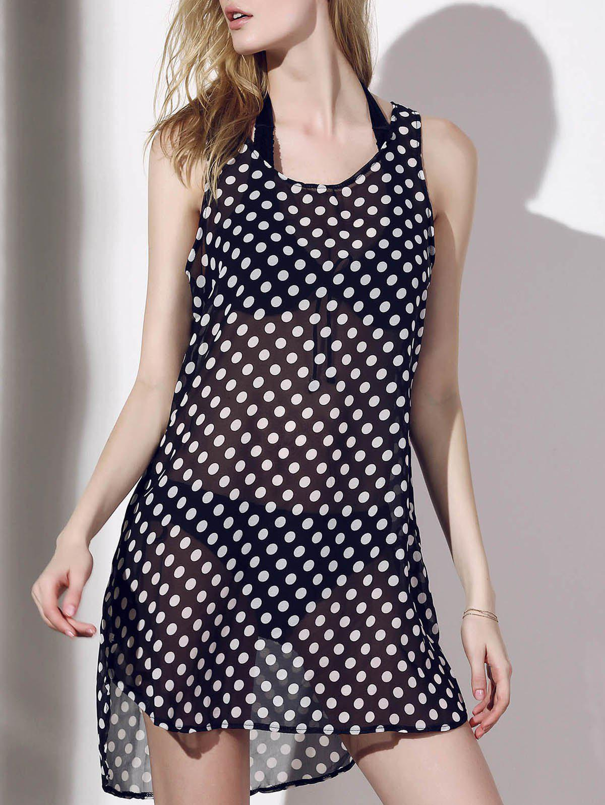 Sleeveless Polka Dot See-Through Women's Cover-Up