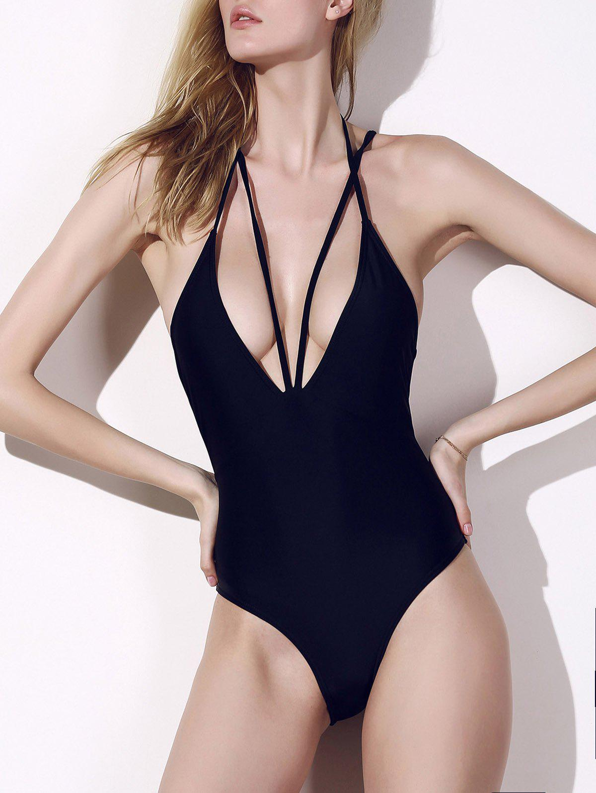 Fashion Black Plunging Neck Cut Out One-Piece Swimwear For Women - BLACK M