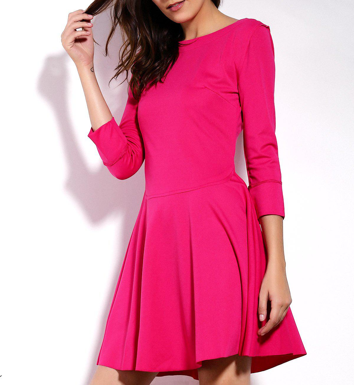Fashionable 3/4 Sleeve Round Collar Slimming Solid Color Women's Dress