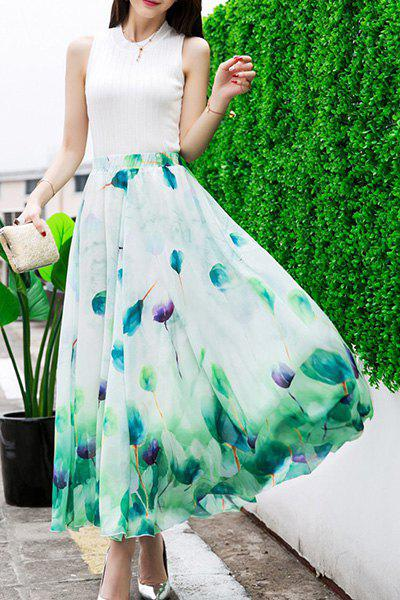 Trendy Elastic Waist Women's Floral Pattern Maxi Skirt - GREEN ONE SIZE(FIT SIZE XS TO M)