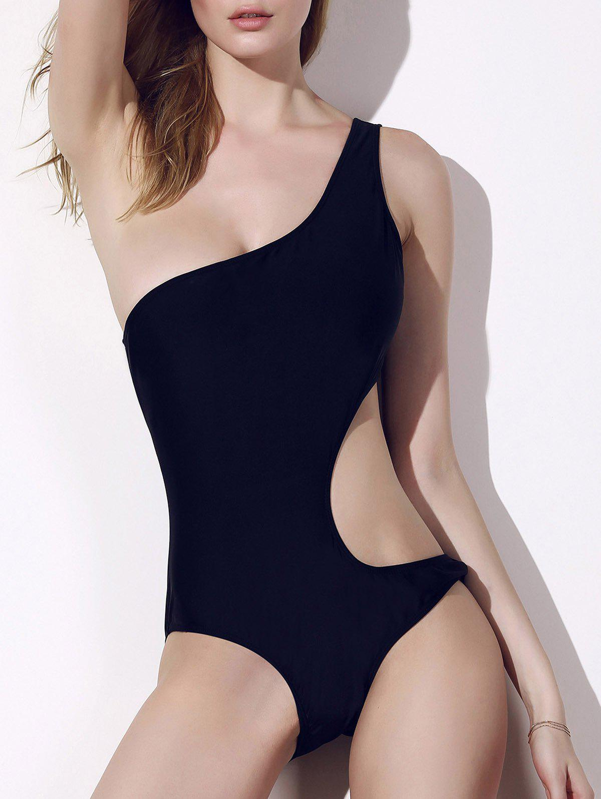 Chic Hollow Out One-Shoulder One-Piece Swimsuit For Women - BLACK L