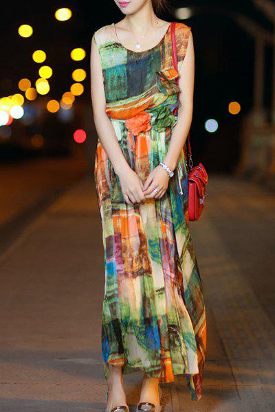 Chic Scoop Neck Sleeveless Colorful Print Chiffon Women's Long Dress - COLORMIX XL