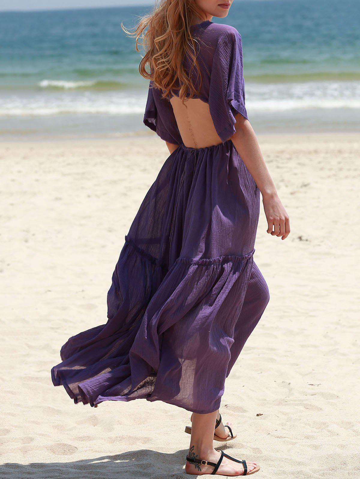 Bohemian Plunging Neck Solid Color Hollow Out Women's Dress - PURPLE S