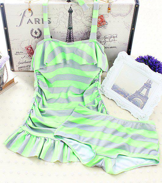 Stylish Women's Halter Flounced Striped Tankini Set - GREEN M