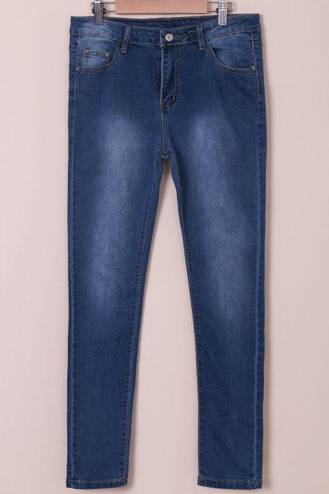 Stylish High-Waisted Women's Jeans - BLUE M