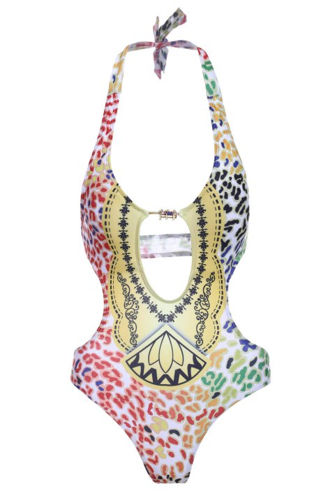 Stylish Women's Halter Hollow Out Print One-Piece Swimsuit - COLORMIX S