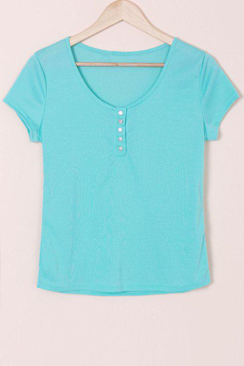 Sexy Scoop Neck Short Sleeve Solid Color Slimming Women's T-Shirt - BLUE XL
