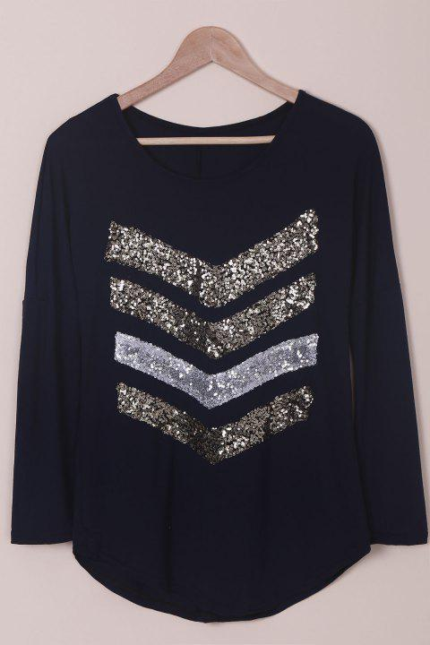 Attractive Sequined Long Sleeve T-Shirt For Women - PURPLISH BLUE M