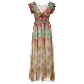 Surplice V Neckline Floral Empire Waist Maxi Dress