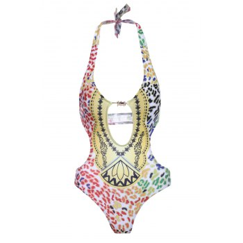 Stylish Women's Halter Hollow Out Print One-Piece Swimsuit