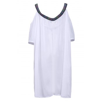 Sexy V Neck 3/4 Sleeve Loose-Fitting Spliced Women's Cover Up - WHITE S