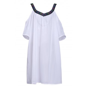 Sexy V Neck 3/4 Sleeve Loose-Fitting Spliced Women's Cover Up