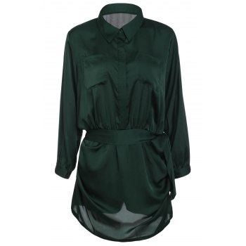Brief Women's Polo Collar Army Green Long Sleeve Romper