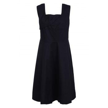 Retro Style Square Neck Sleeveless Solid Color Women's Ball Gown Dress - BLACK L