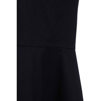 Retro Style Square Neck Sleeveless Solid Color Women's Ball Gown Dress - BLACK BLACK