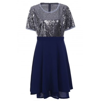 Stylish Women's Scoop Neck Short Sleeve Sequins Plus Size Dress