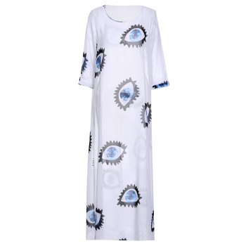 Fresh Style Scoop Neck 3/4 Sleeve Eyes Printed Maxi Dress For Women