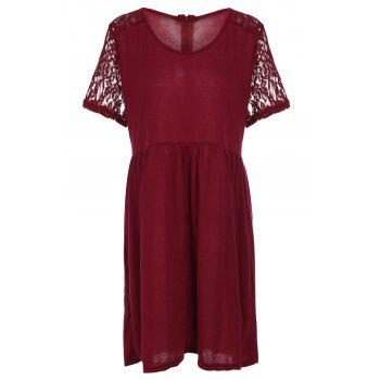 Stylish Women's Scoop Neck Lace Splicing Short Sleeve Plus Size Dress