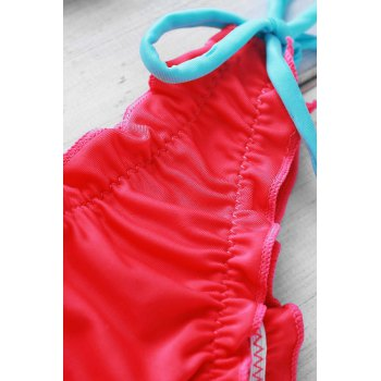Halter Spliced Laciness Women's Bikini Set - RED M
